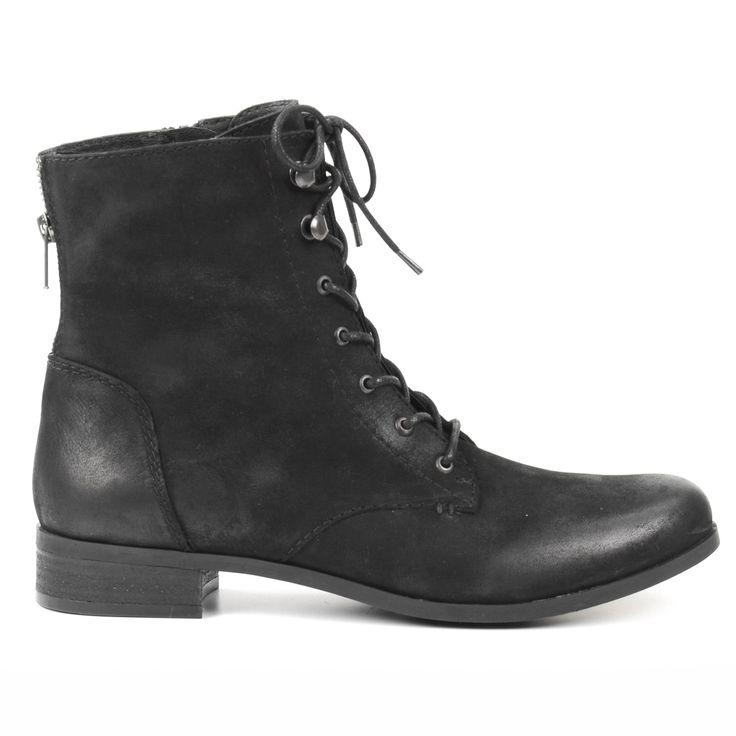 Black leather lace-up boots - Zwarte leren veterlaarzen