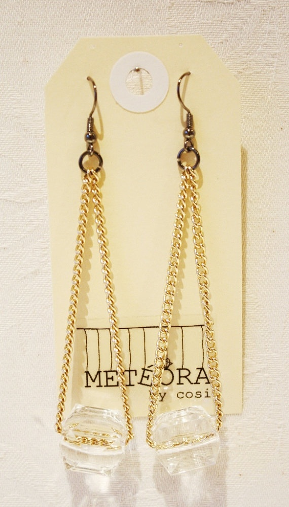 Crystal Cube Earrings in Gold by meteorabycosi on Etsy, $10.00