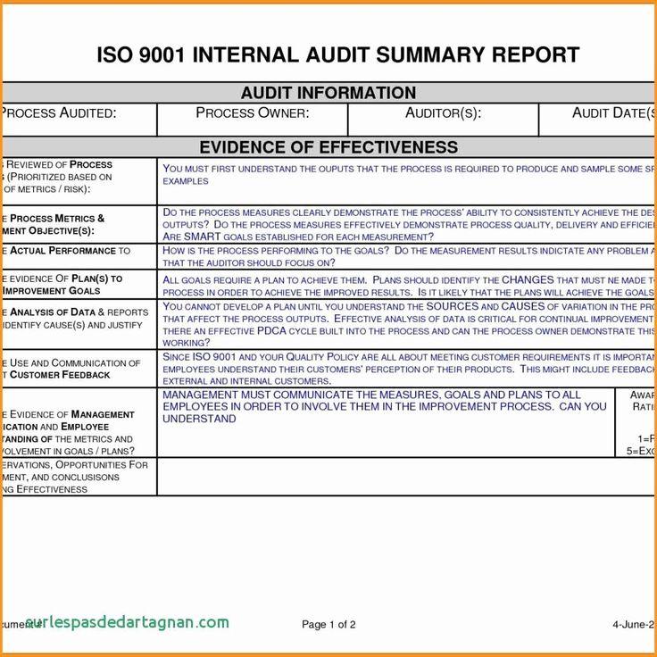 Sample Internal Audit Report Unique Example An Audit