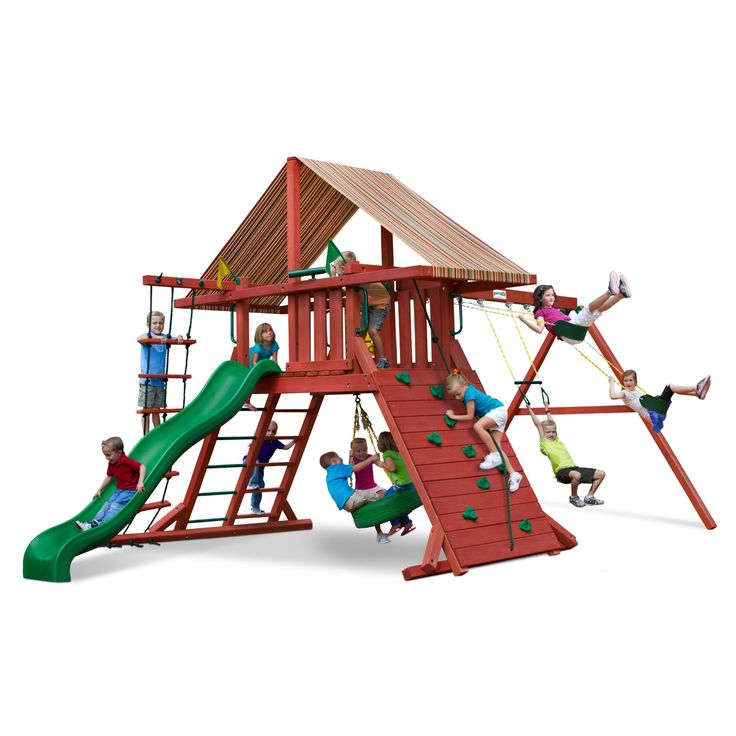 Gorilla Playsets Sun Climber I Wood Swing Set with Brannon Redwood Canopy - 01-0026