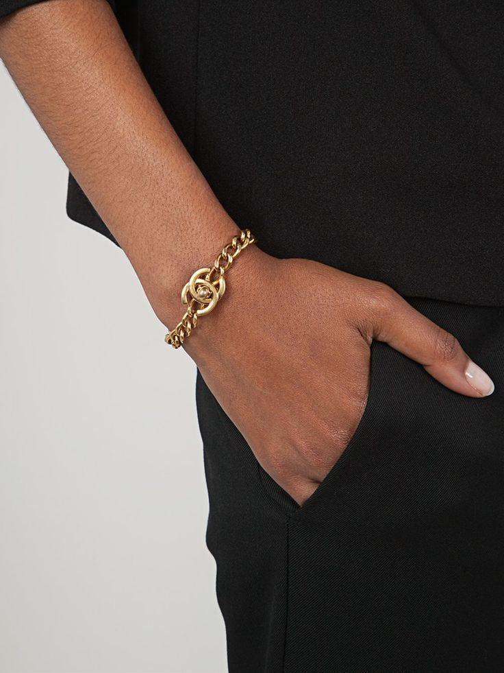 Chanel Vintage цепочный браслет с логотипом