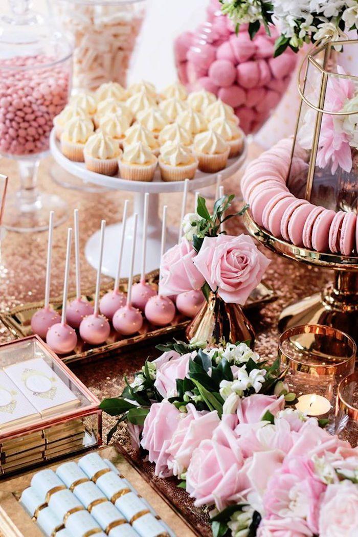 Snoep + Decor van een koperen, roze en gouden prinsessenfeest via Kara's feestideeën …