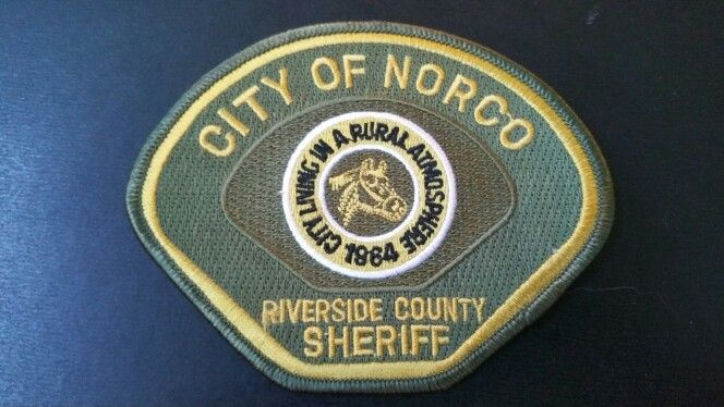 Norco Police Patch, Riverside County Sheriff Contract Agency, Riverside County, California (Current 1999 Issue)
