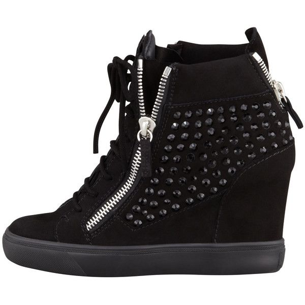 Giuseppe Zanotti Rhinestone Wedge Sneaker, Black ($47) ❤ liked on Polyvore featuring shoes, sneakers, kohl shoes, black trainers, giuseppe zanotti shoes, black shoes and giuseppe zanotti trainers