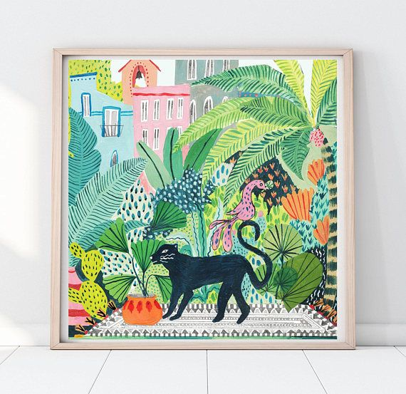 Jungle Black Panther Print! Part of my new series a day in the life of Inspired by my travels to the Jardin Exotique Botanical garden in Monaco. The design was drawn and hand painted by myself using quality acrylic paints on quality card. Designed to add a splash of nature to any wall