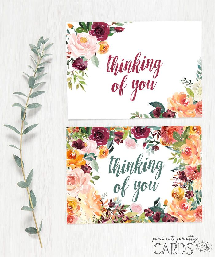 Free Printable Thinking Of You Cards In Two Designs Free Printable Greeting Cards Printable Greeting Cards Free Printable Cards