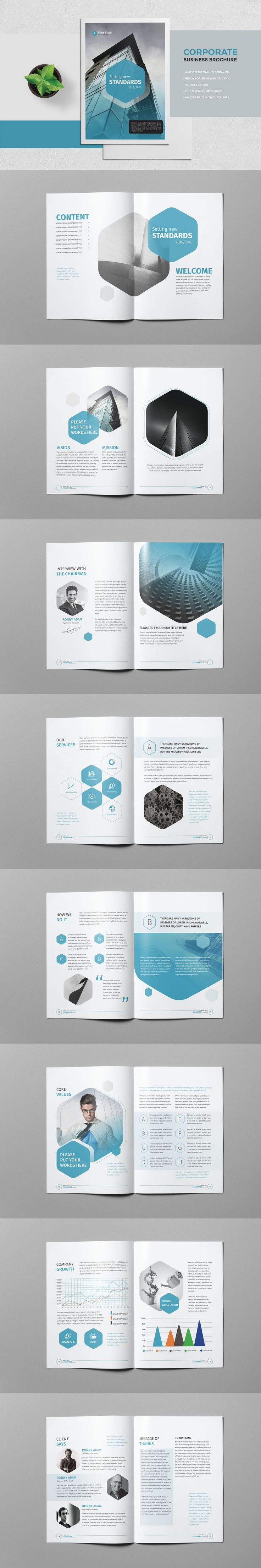 Corporate Business Brochure 18 Pages A4 Template InDesign INDD