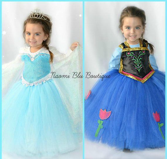 Disney Inspired Frozen Queen Elsa and Princess Anna by NaomiBlu, $129.00 Tutu dress, costume, frozen birthday party, Disney