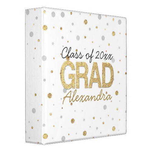Gold Foil Glitter Confetti Graduation Party Custom Binder