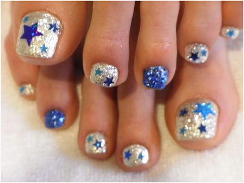 Cute Blue Nail Design Rising Stars Ideas In Toe