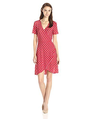 Did someone scream Polka? Vixen Ballerina Wrap Dress comes in Red Polka, Black Polka, Black, Navy, Pink, and Purple. www.outlet77.com
