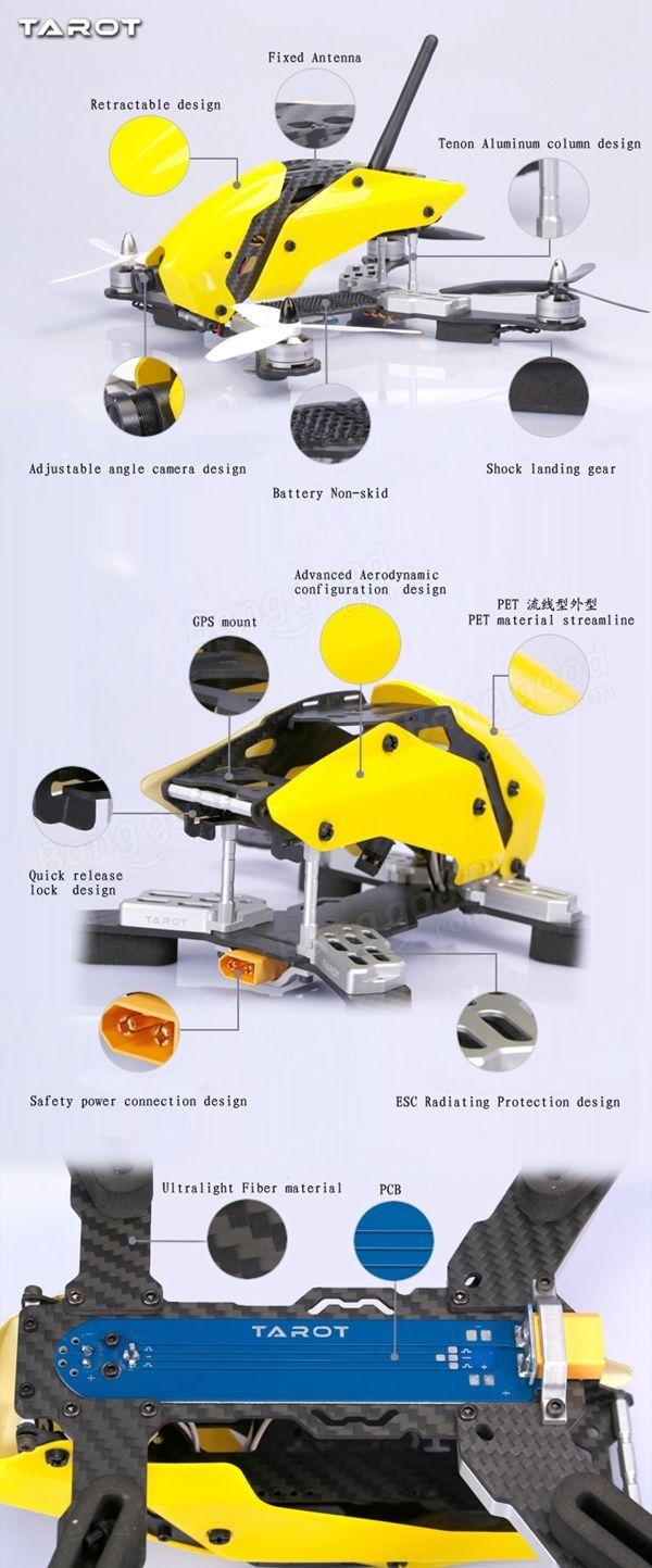 Tarot TL250C 250mm Carbon Fiber FPV Racer Frame Kit For Multicopter Quadcopter Sale-Banggood.com
