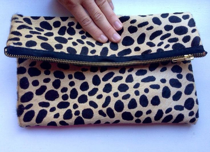 Cheetah Print Calf Hair Clutch by TheProvidenceStory on Etsy, $95.00