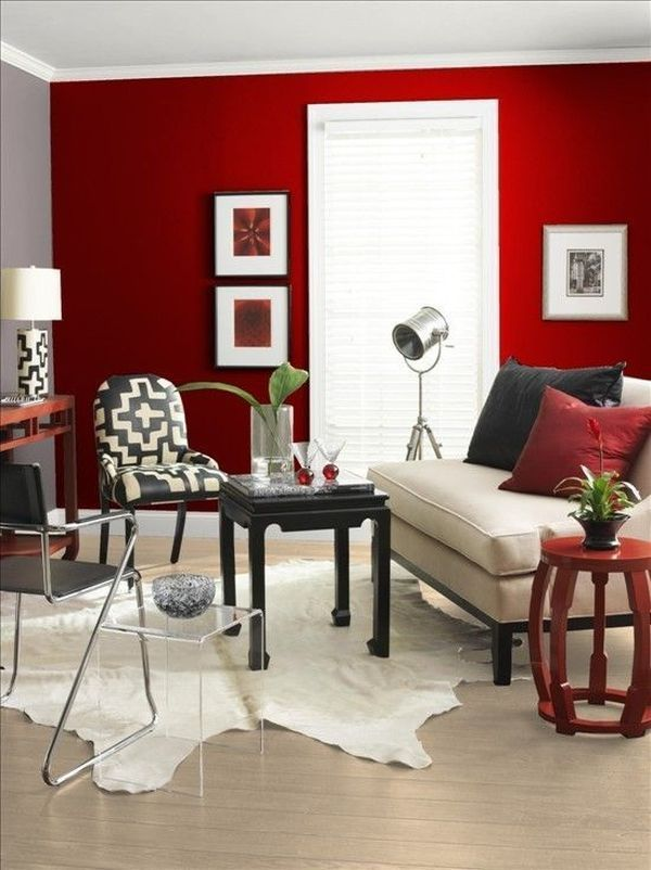 The Role Of Colors In Interior Design Red accent dining wall - red bathroom shelf