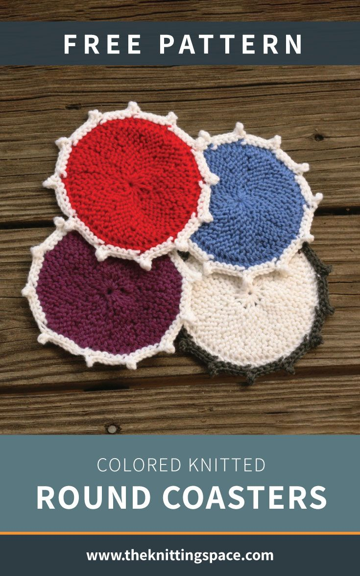 Colored Knitted Round Coasters Free Knitting Pattern Crochet
