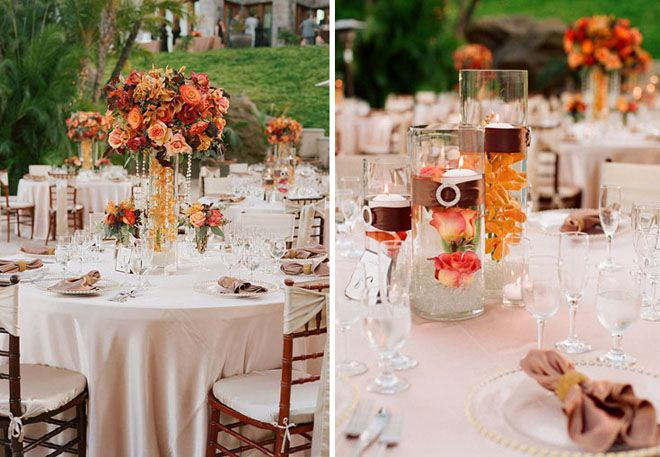 25 Stunning Wedding Centerpieces - Part 10 - Belle The Magazine. I really like the minimal one on the right for all the tables