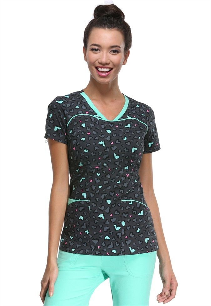 HeartSoul Tame My Wild Heart print scrub top. Main Image