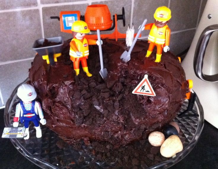 Construction Birthday Cake - Chocolate fudge cake, Oreo biscuits, candy choc rocks and playmobil figures