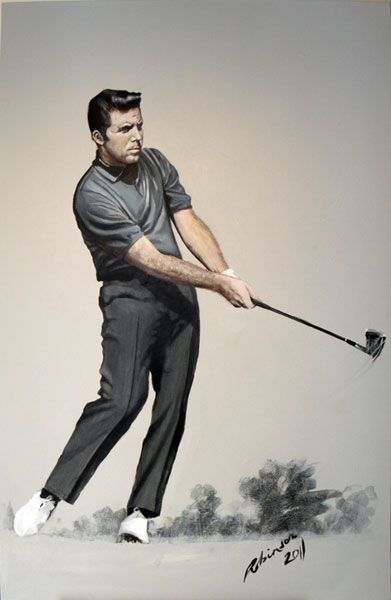 Gary Player - Back in the day. Painted by Mark Robinson for TDIC and the Gary Player Charity Ball (Auction) 2011. Donated by Mark along with a Martin Kaymer Portrait. #garyplayer #thebigthree #golfinglegends #golflegends #golfstars #golfimages #golfart #markrobinson If you are interested in your own swing portrait - www.robinsongolfart.com
