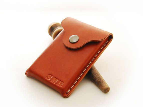 Personalized Handmade Leather Business Card Holder by EchoSix