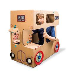 Leuk idee, een maak een bus van een grote kartonnen doos. Knutseltip van Speelgoedbank Amsterdam. Recycle / upcycle budget knutsel (je hoeft immers niet het pakket aan te schaffen - gewoon goed kijken en je fantasie gebruiken)
