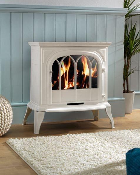 Eko Fires EKO1050CL White Electric Stove with Arch Lattice Door