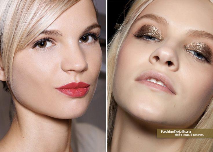 вечерний макияж, яркая помада, пигменты для глаз