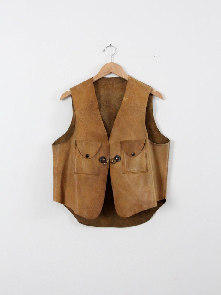 vintage men's leather vest,  70s leather biker vest by IronCharlie on Etsy https://www.etsy.com/listing/177467384/vintage-mens-leather-vest-70s-leather
