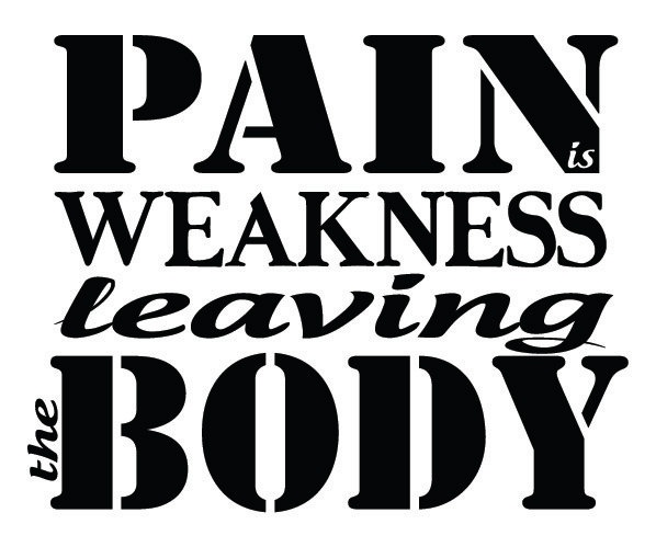 Pain is Weakness Leaving the Body Vinyl Wall Decal // Inspirational Motivational Sticker // Removable // Gym, Workout, Exercise, Military. $12.00, via Etsy.