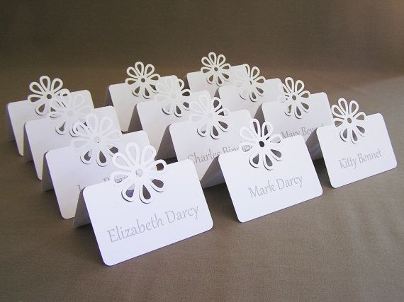 50 Elegant Flower Placecards Tent Style By Jobunch On Etsy Can We Do This With