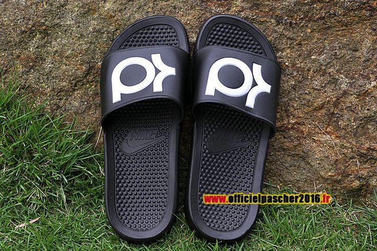 Officiel Nike KD Solarsoft Diapositives Nike Sandales Pas Cher Pour Homme Noir - Blanc