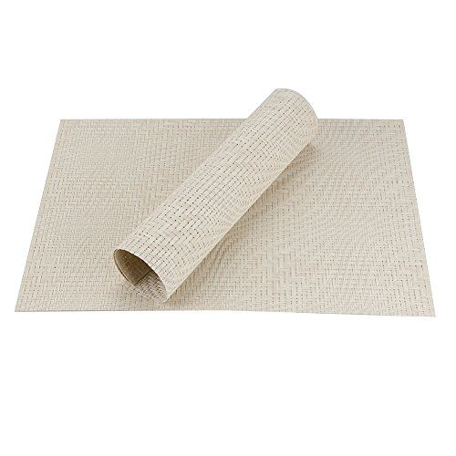 "Top Finel Eco-friendly Plaid Colorful Rectangle Woven PVC Place Mats for Dining Table 12"" By 18"" (Set of 8Cream)"