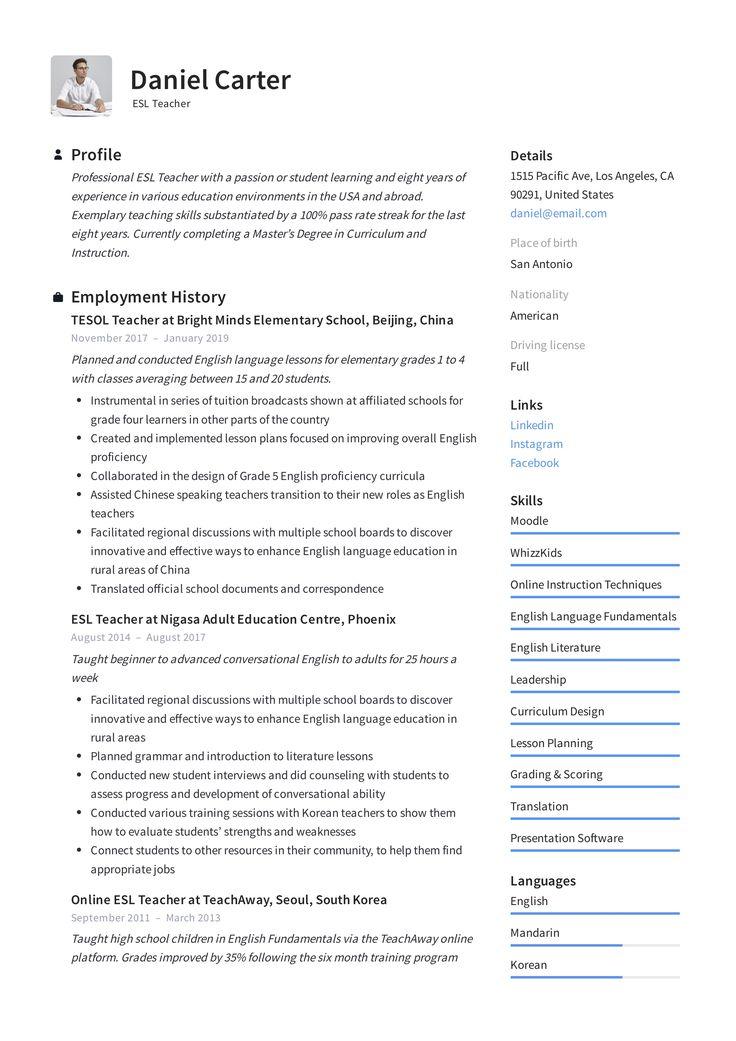 Esl teacher resume template in 2020 teacher resume