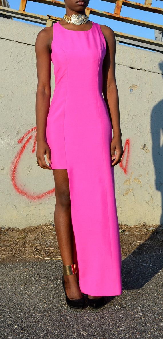 In lust with this Racer Back Neon Pink Maxi Dress by DanielaTabois on Etsy