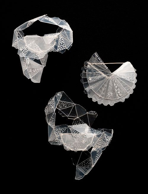 Kristin D'Agostino Brooches: Take Away Series 2012 Fishing line, take away container, silver