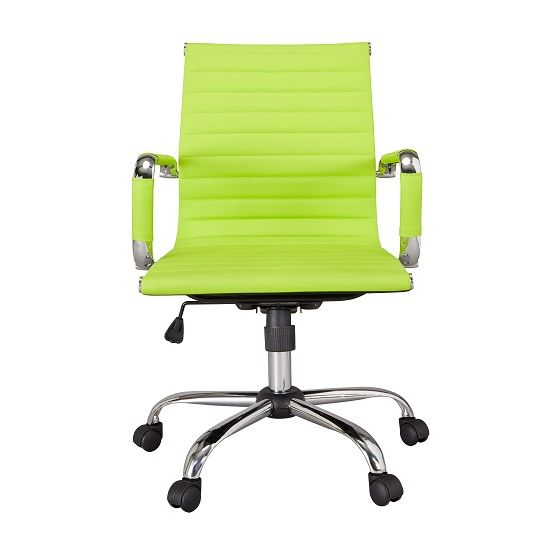 Medlin Home Ergonomic Office Chair In Lime Green Faux Leather And Castors