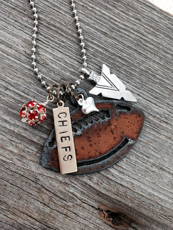 I Love Football Necklace for Kansas City Chief fans by DuctTapeAndDenim | | Use the coupon code PIN10 to get 10% off your entire order on www.DuctTapeAndDenim.etsy.com | Great gift idea for the sports fan on your list!