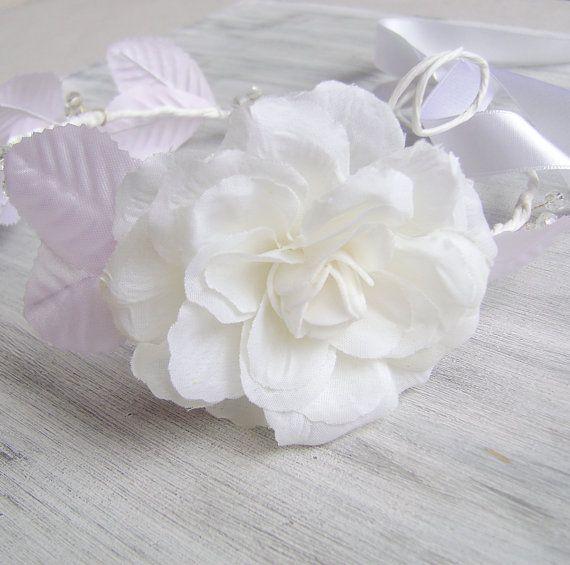 White Camellia Flower crown wedding accessories by PrettyNatali, $40.00