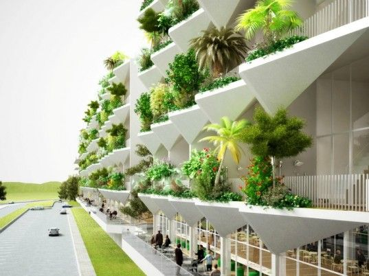 Green fronted hotel in China