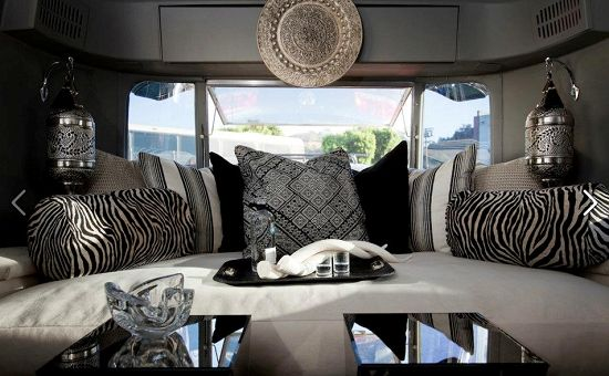 The Moroccan pendant lights mix well with the bold stripes.: 1969 Airstream, Interiors Design, Airstream Interiors, Fashion Blog, Moroccan Style, Airstream Dreams, Rachel Horns, Design Blog, Airstream Trailers