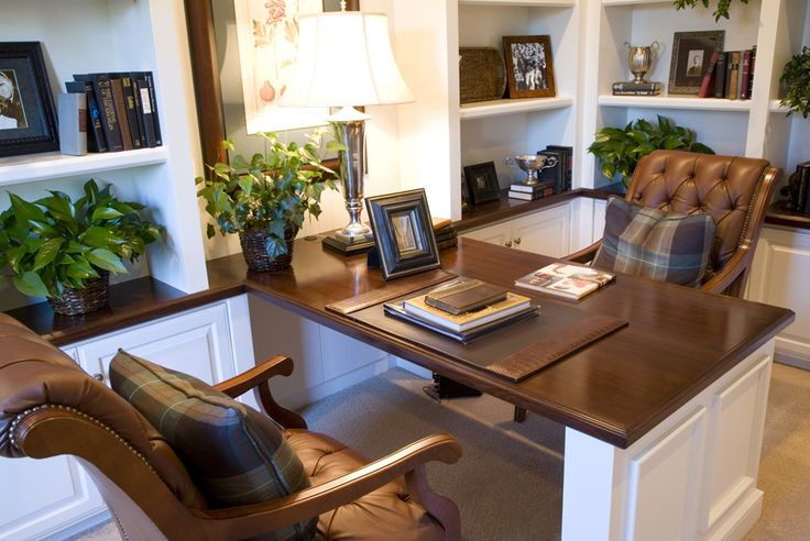 33 White Home Office with Stained Wood Countertop