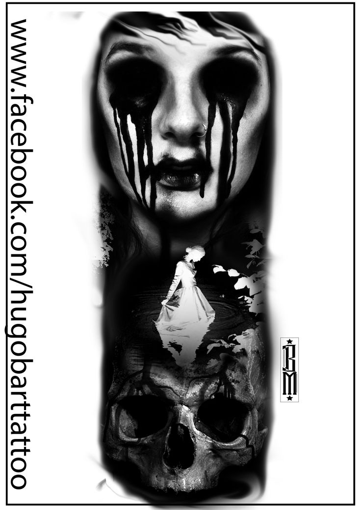 zombie skull woman face scarry digital tatoo design blood black and grey trash pinterest. Black Bedroom Furniture Sets. Home Design Ideas
