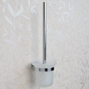 Ceeley Collection Wall Mount Toilet Brush Holder - Chrome by Whittington Collection. $13.95. The Ceeley Collection Wall Mount Toilet Brush Holder is made of solid brass and features a charming frosted glass container. Perfect for keeping your cleaning supplies nearby while remaining stylish and discreet. Shown in Chrome finish. 4-3/4 diameter x 15 H. Made of solid brass with frosted glass container. Toilet brush included.
