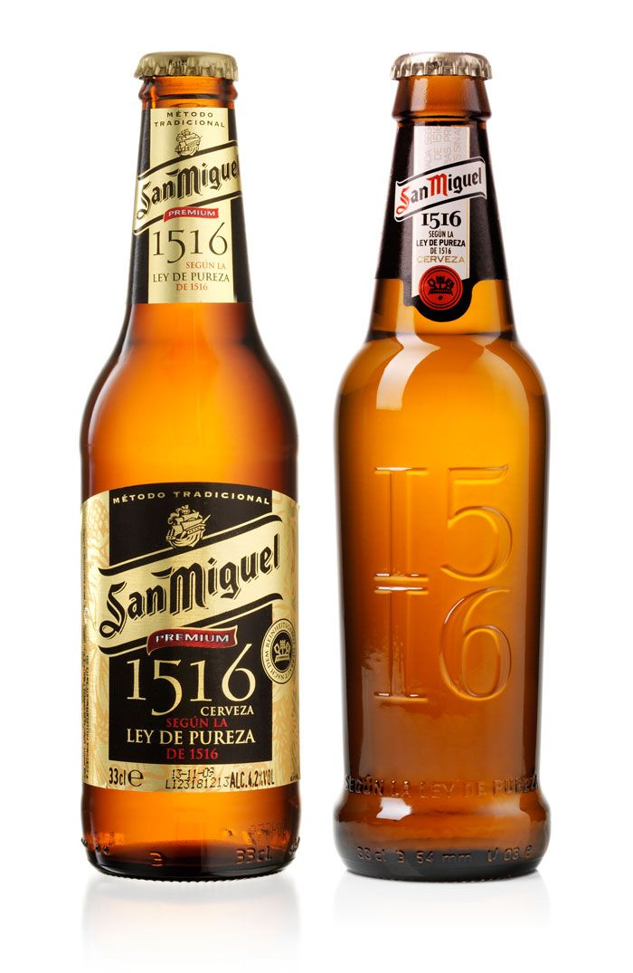 "Before and After - With a new bottle form and only a neck label, this redesign give then beer a whole new vibe. ""San Miguel aims to build their portfolio on a national and international level, by carving out a relevant position in the premium market. Their vision is to establish San Miguel 1516 as the premium flagship of San Miguel. Design Bridge has created the new 2D and 3D design of San Miguel 1516."