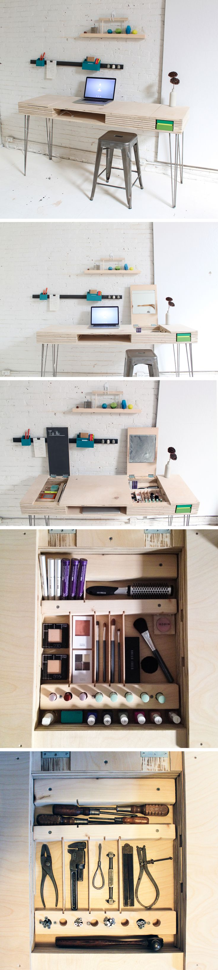 Maximize on your space with this versatile flip desk--use it for a work station, a vanity, home office! Check out the instructions on the site: http://www.homemade-modern.com/ep30-the-flip-desk/