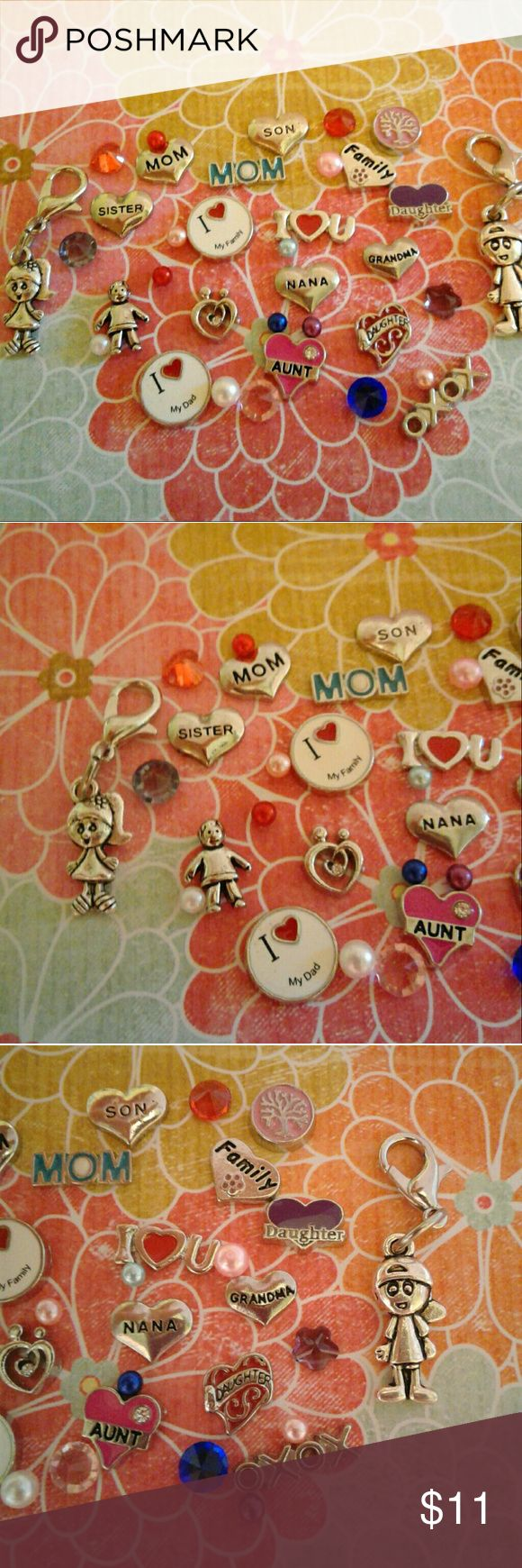25 pc Family Floating Charm Set for Memory Locket Family theme floating charms for Living Locket. Includes Mom, Aunt, Daughter ,Dad, Son, Grandma, and more! Over 25 pieces including crystals and faux pearls! They measure from 3mm to 12mm,have no hole,  and float around when placed inside the glass locket. Jewelry
