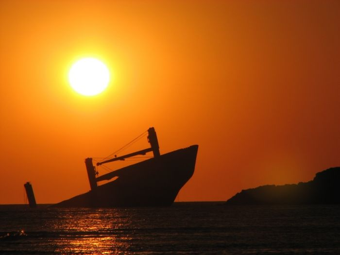 The shipwreck and the sunset