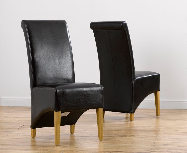 6x Kentucky Black Leather Dining Chairs