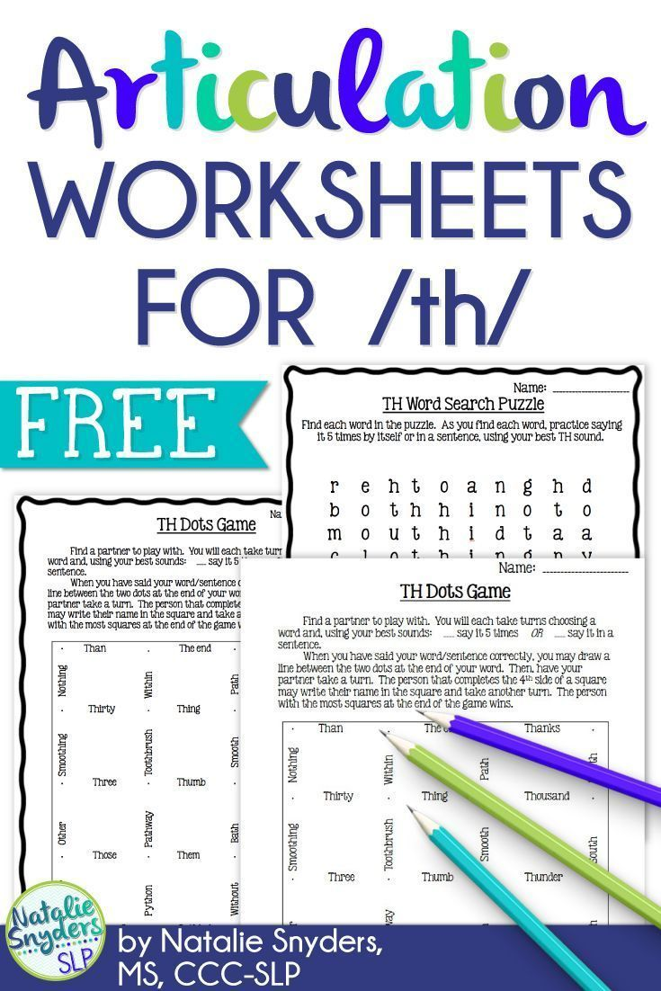 Free Worksheets For Practicing The Th Sound From Natalie Snyders Slp Speech Therapy Materials Articulation Worksheets School Speech Therapy [ 1102 x 735 Pixel ]