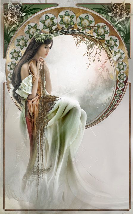 Art Nouveau print, The Fairy, Surreal Art Nouveau photography, Surreal Portrait, illustration, fashion print, Inspired by Mucha